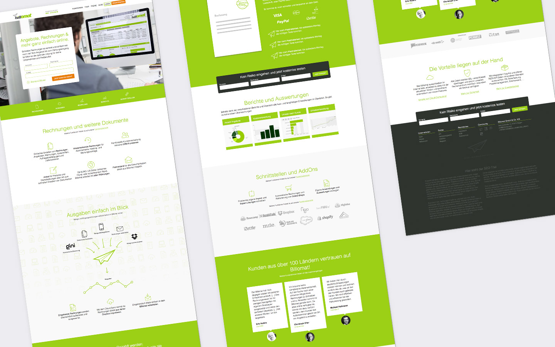 Gesamte Seitenlänge der Startseite