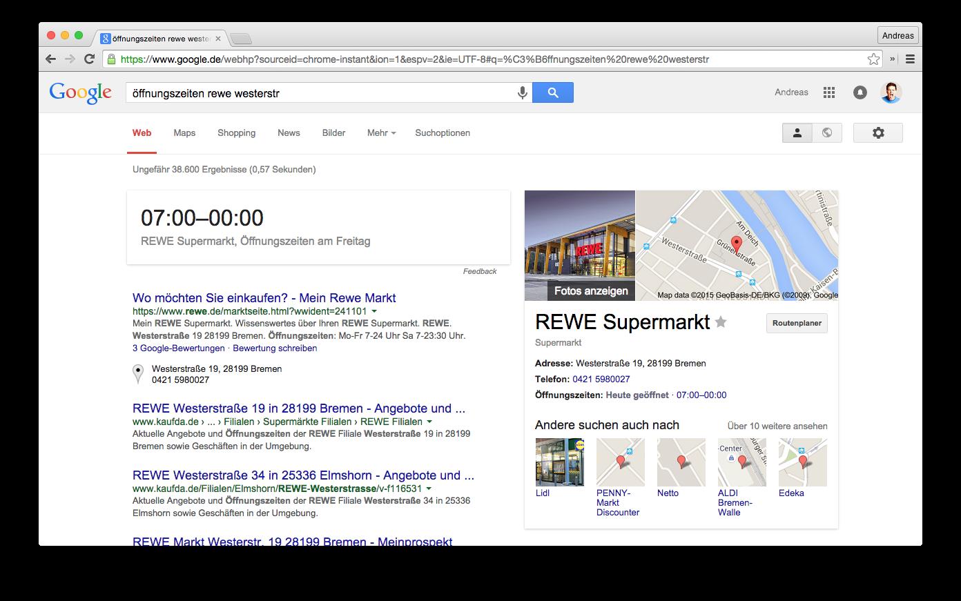 """Screenshot der Google Suche nach """"öffnungszeiten rewe westerstr"""" in der Desktop-Suche"""