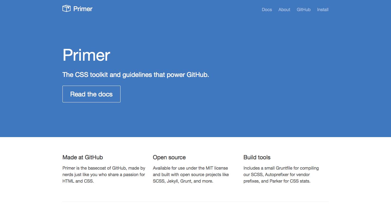 Screenshot der Startseite von Primer, dem GitHub-Styleguide