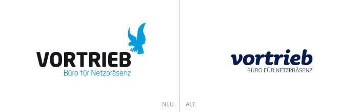 Links das neue Vortrieb-Logo mit Adler-Signet, rechts das alte, rein typografische Logo